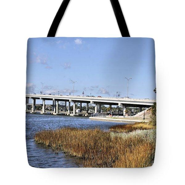 Ormond Beach Bridge Tote Bag by Deborah Benoit