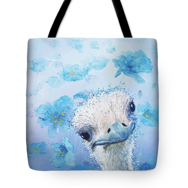 Ostrich In A Field Of Poppies Tote Bag by Jan Matson