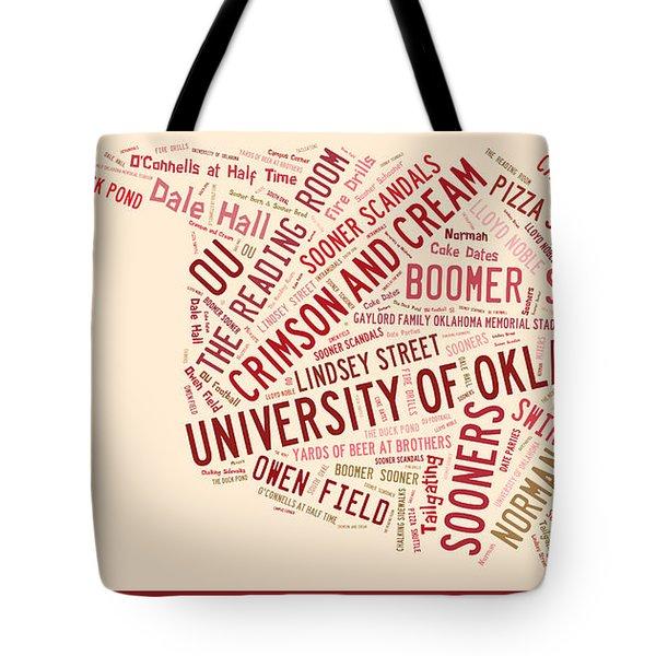 Ou Word Art University Of Oklahoma Tote Bag by Roberta Peake