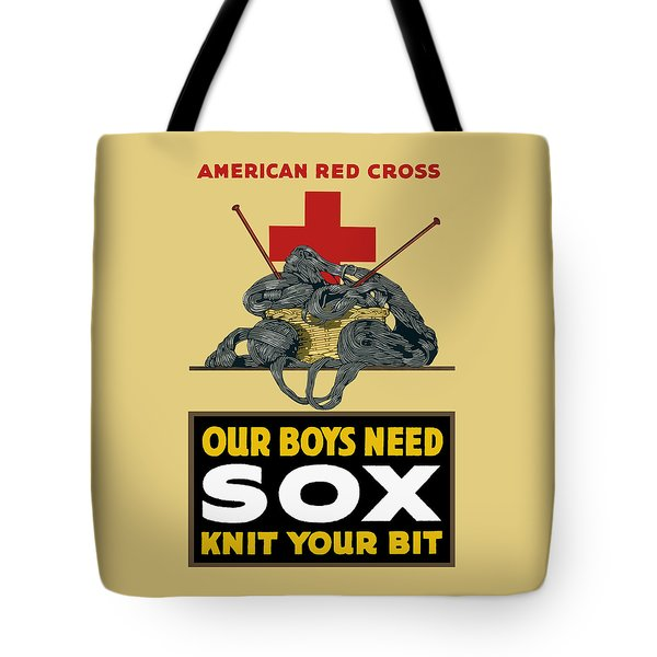 Our Boys Need Sox - Knit Your Bit Tote Bag by War Is Hell Store