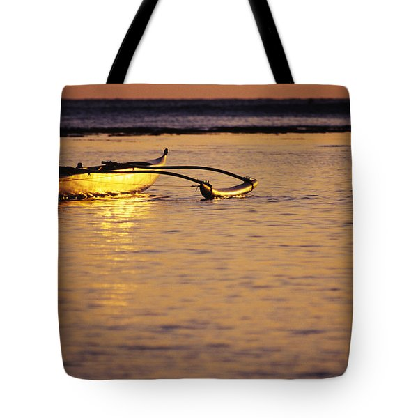 Outrigger and Sunset Tote Bag by Joss - Printscapes