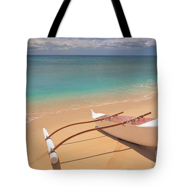 Outrigger on Beach Tote Bag by Dana Edmunds - Printscapes