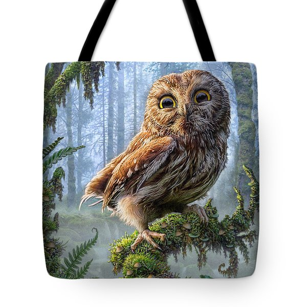 Owl Perch Tote Bag by Phil Jaeger