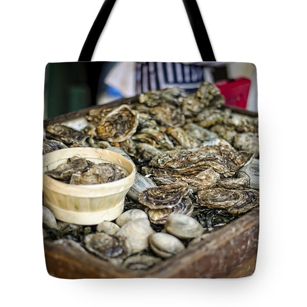 Oysters at the Market Tote Bag by Heather Applegate