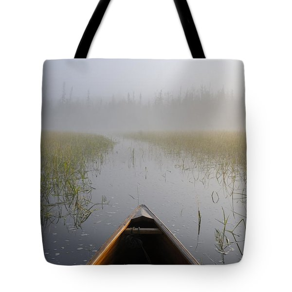 Paddling Into The Fog Tote Bag by Larry Ricker