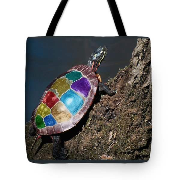 Painted Painted Turtle Tote Bag by Warren M Gray