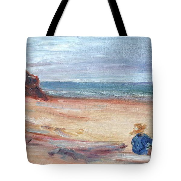 Painting The Coast - Scenic Landscape With Figure Tote Bag by Quin Sweetman