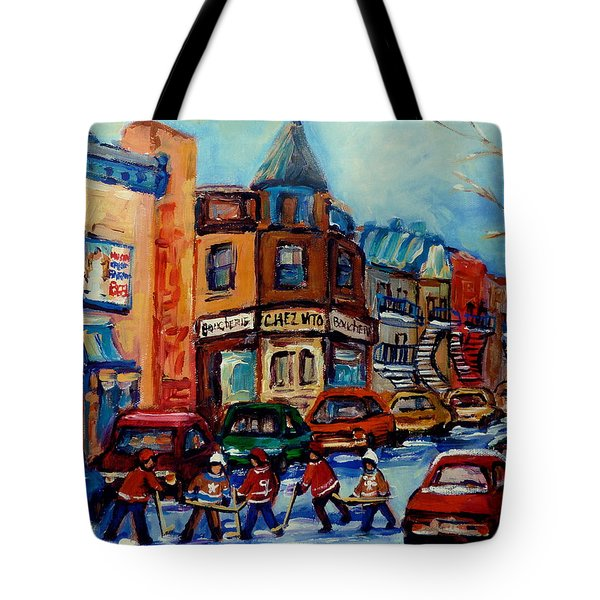 Paintings Of Montreal Hockey On Fairmount Street Tote Bag by Carole Spandau