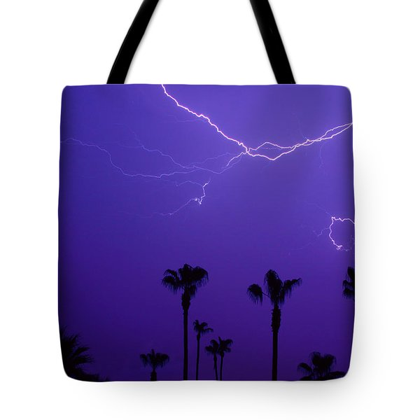 Palm Trees And Spider Lightning Striking Tote Bag by James BO  Insogna