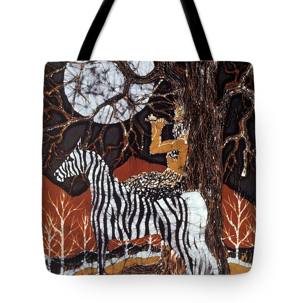 Pan Calls The Moon From Zebra Tote Bag by Carol Law Conklin