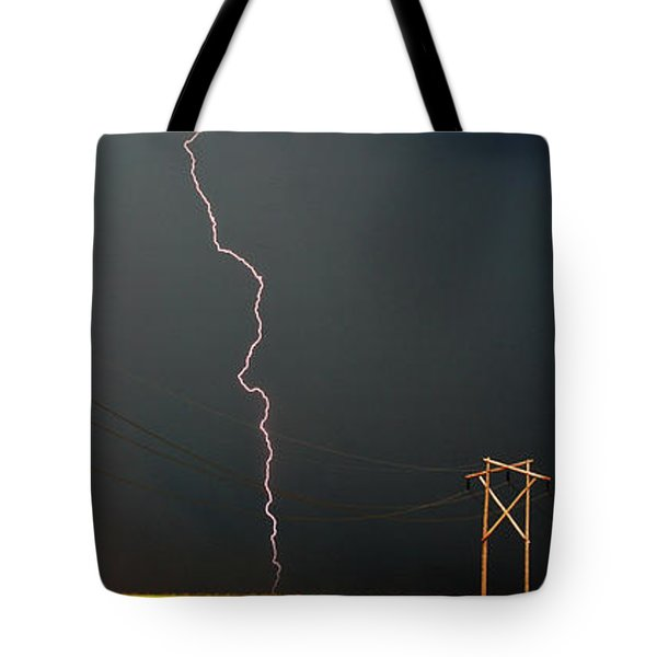 Panoramic Lightning Storm And Power Poles Tote Bag by Mark Duffy
