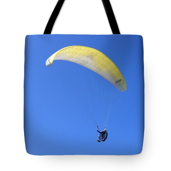 Paraglider And Seagull Tote Bag by Will Borden
