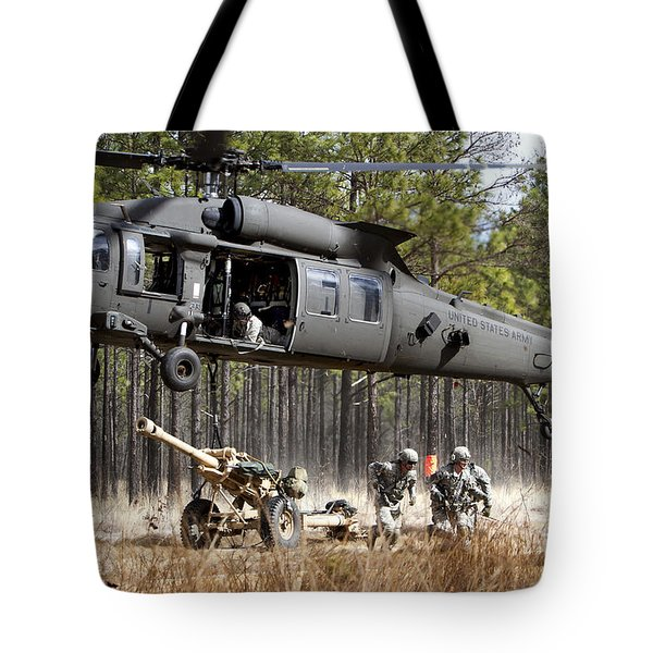 Paratroopers Connect A Howitzer Tote Bag by Stocktrek Images
