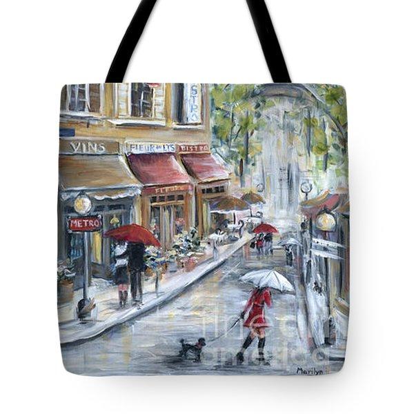 Poodle In Paris Tote Bag by Marilyn Dunlap