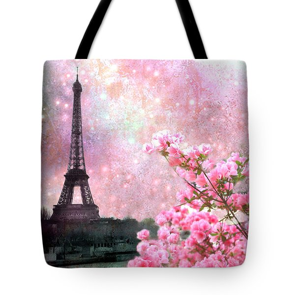 Paris Eiffel Tower Cherry Blossoms - Paris Spring Eiffel Tower Pink Blossoms  Tote Bag by Kathy Fornal