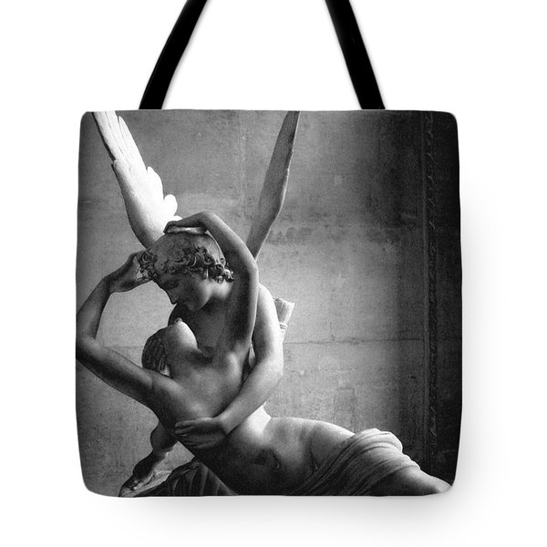Paris In Love - Eros And Psyche Romantic Lovers - Paris Eros Psyche Louvre Sculpture Black White Art Tote Bag by Kathy Fornal
