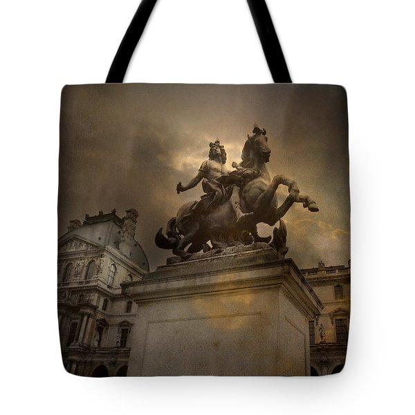 Paris - Louvre Palace - Kings Of Paris - King Louis Xiv Monument Sculpture Statue Tote Bag by Kathy Fornal