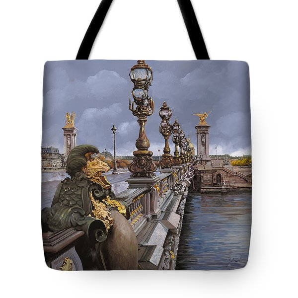 Paris-pont Alexandre III Tote Bag by Guido Borelli