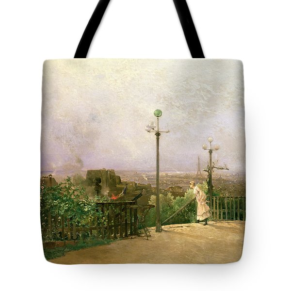 Paris Seen From The Heights Of Montmartre Tote Bag by Jean dAlheim