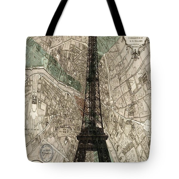 Paris Vintage Map And Eiffel Tower Tote Bag by Nomad Art And  Design