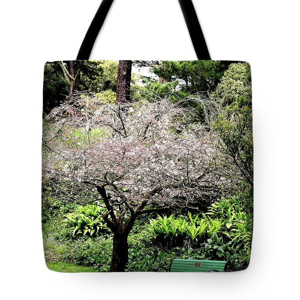 Park Bench at The Old Cherry Blossom Tree . 7D5804 Tote Bag by Wingsdomain Art and Photography