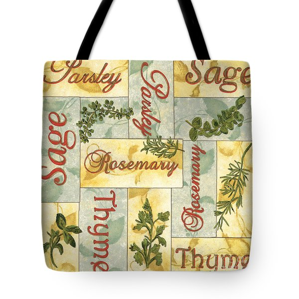 Parsley Collage Tote Bag by Debbie DeWitt