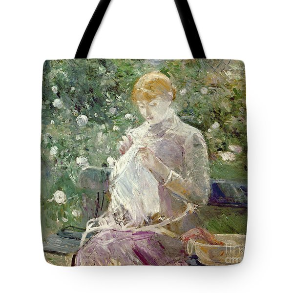 Pasie Sewing In Bougivals Garden Tote Bag by Berthe Morisot