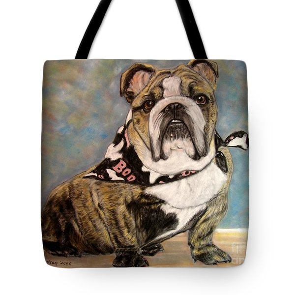 Pastel English Brindle Bull Dog Tote Bag by Patricia L Davidson