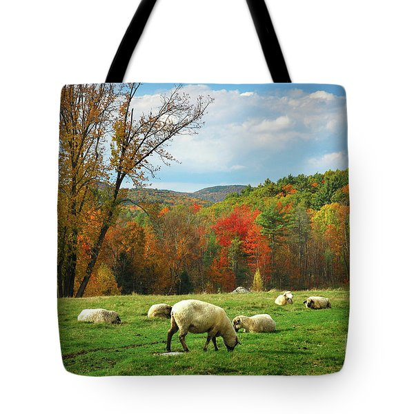Pasture - New England Fall Landscape Sheep Tote Bag by Jon Holiday