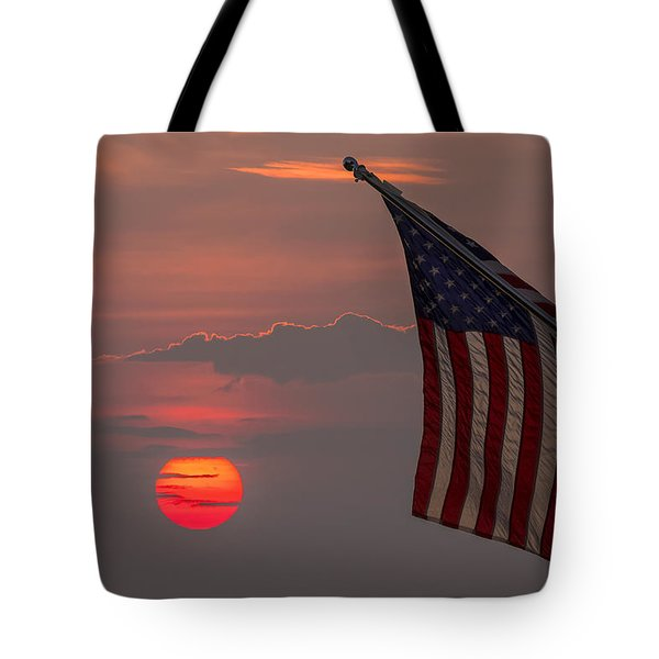 Patriotic Sunset Tote Bag by Mark Papke