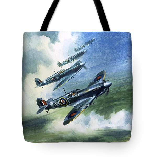 Patrolling Flight Of 416 Squadron, Royal Canadian Air Force, Spitfire Mark Nines Tote Bag by Wilf Hardy