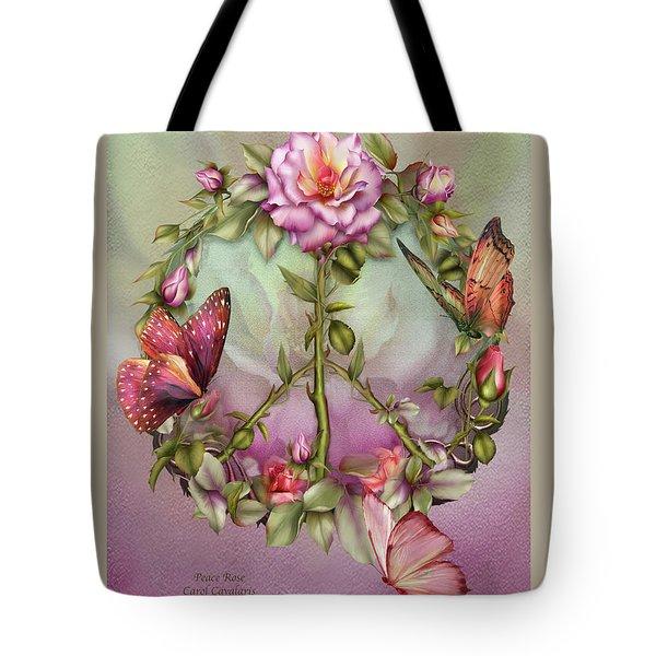 Peace Rose Tote Bag by Carol Cavalaris