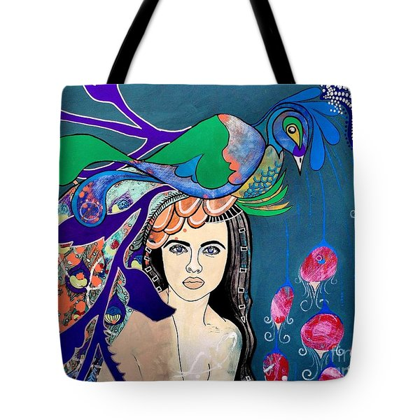 Peacock Bride Tote Bag by Amy Sorrell