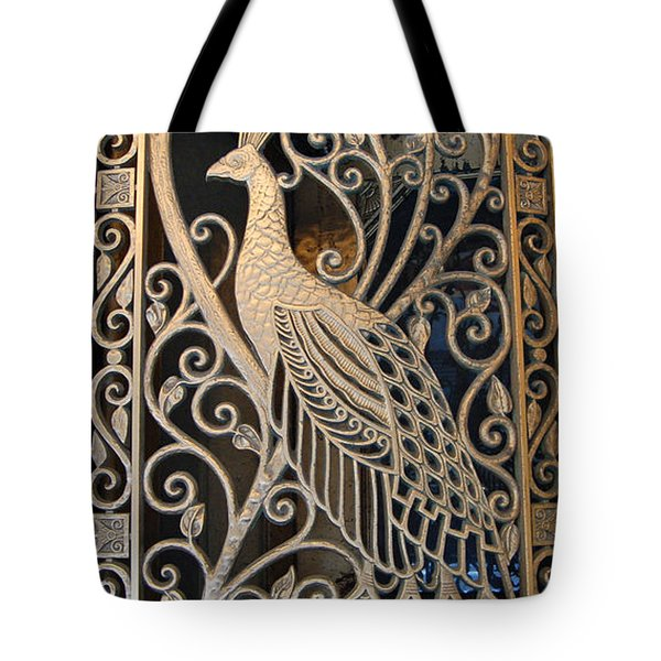 Peacock Door II - The Palmer House In Chicago Tote Bag by Suzanne Gaff
