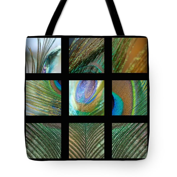 Peacock Feather Mosaic Tote Bag by Lisa Knechtel
