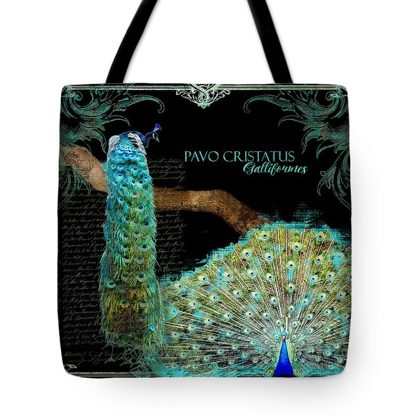 Peacock Pair On Tree Branch Tail Feathers Tote Bag by Audrey Jeanne Roberts