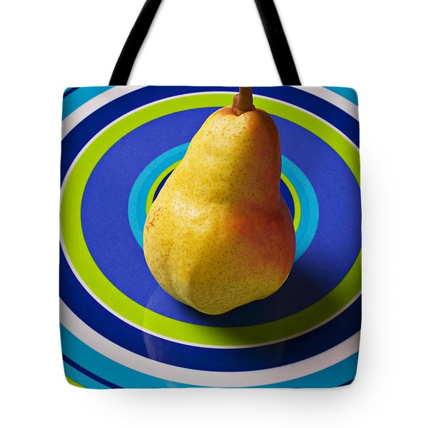 Pear On Plate With Circles Tote Bag by Garry Gay