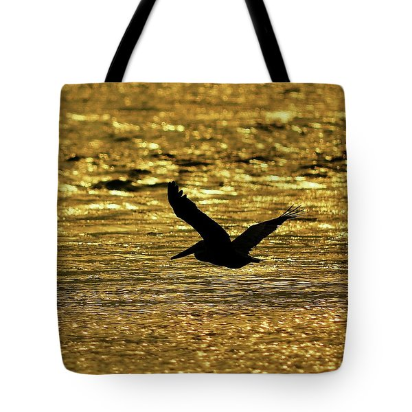 Pelican Silhouette - Golden Gulf Tote Bag by Al Powell Photography USA