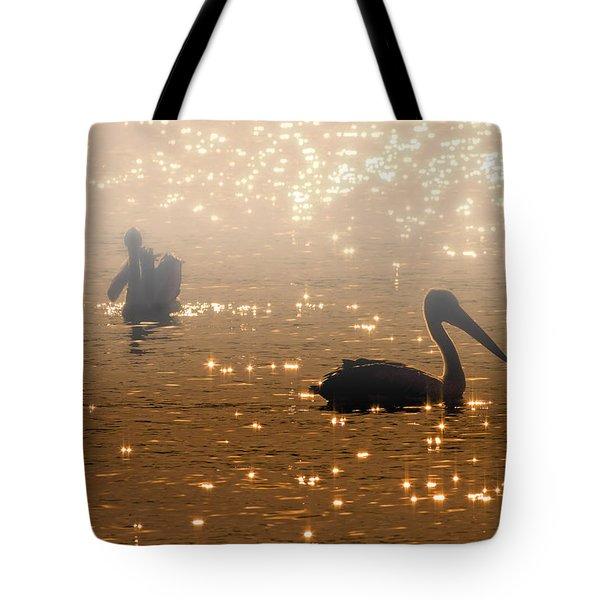 Pelican Sunrise Tote Bag by Mike  Dawson