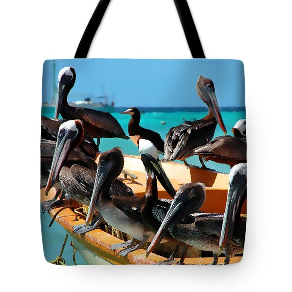Pelicans On A Boat Tote Bag by Bibi Romer