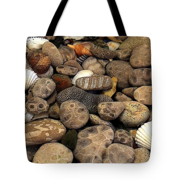 Petoskey Stones With Shells L Tote Bag by Michelle Calkins