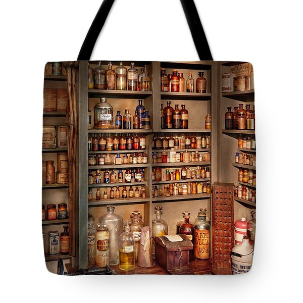 Pharmacy - Get me that bottle on the second shelf Tote Bag by Mike Savad