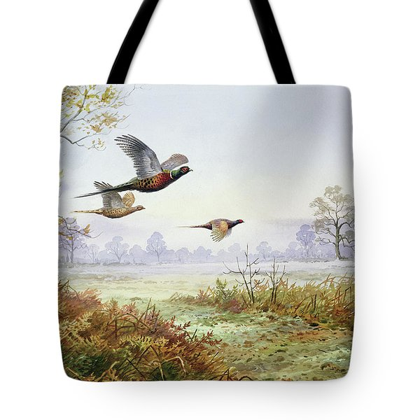 Pheasants In Flight  Tote Bag by Carl Donner