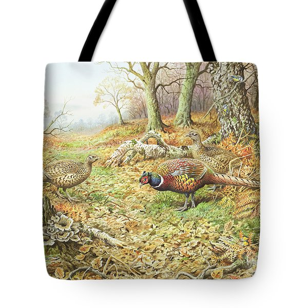 Pheasants With Blue Tits Tote Bag by Carl Donner
