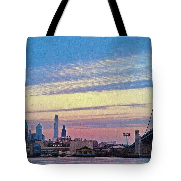 Philadelphia At Dawn Tote Bag by Bill Cannon