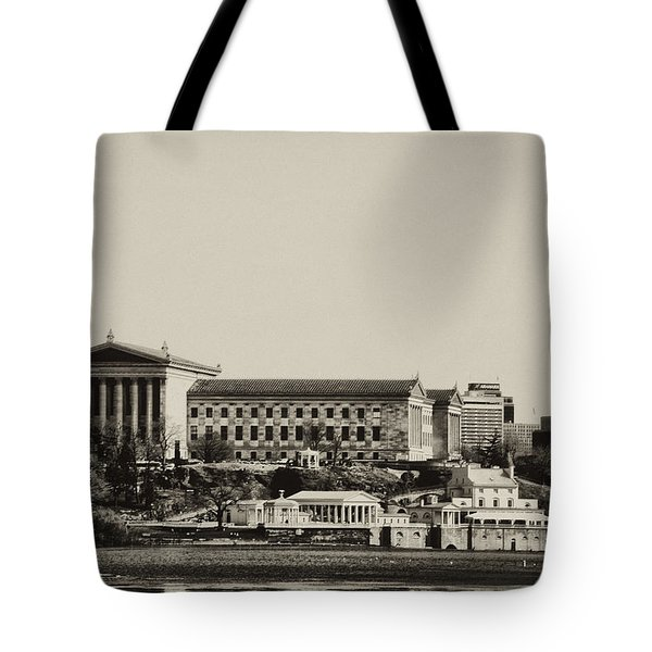 Philadelphia Museum of Art and the Fairmount Waterworks From West River Drive in Black and White Tote Bag by Bill Cannon