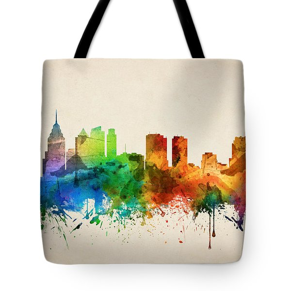 Philadelphia Pennsylvania Skyline 05 Tote Bag by Aged Pixel