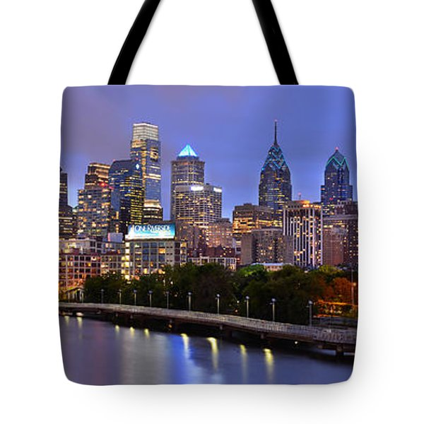 Philadelphia Philly Skyline At Dusk From Near South Color Panorama Tote Bag by Jon Holiday