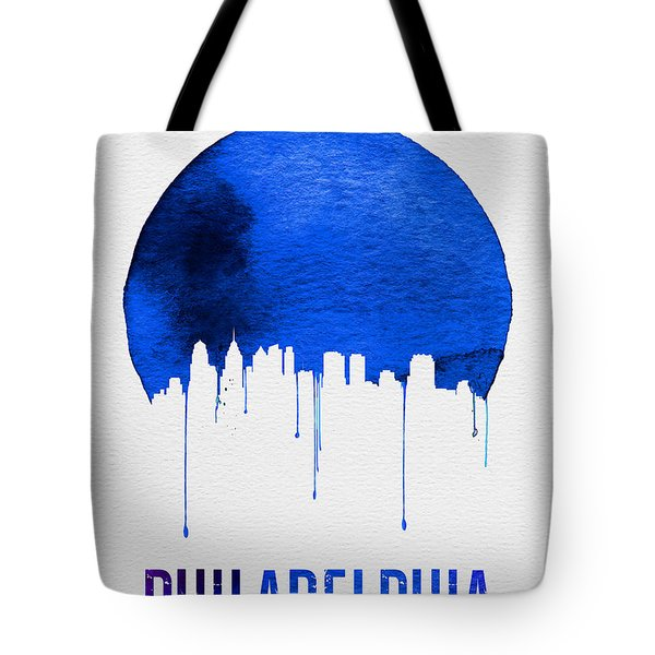 Philadelphia Skyline Blue Tote Bag by Naxart Studio