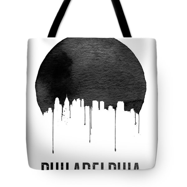 Philadelphia Skyline White Tote Bag by Naxart Studio